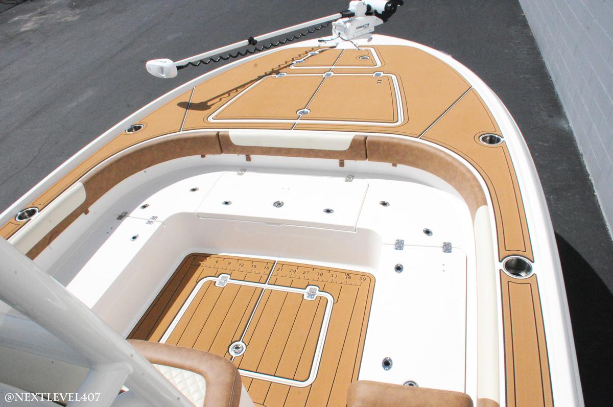 Baby-Blue-Caymas-Boat-On-Trailer-Next-Level-Inc-Debary-Store-Yamaha-Engine-Top-View-Lounge-SeaDek-Marine-Flooring-Fish-Ruler-Cup-Holders